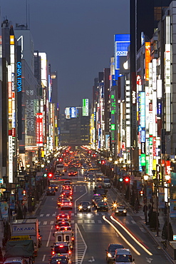 Chuo-dori, elevated view at dusk along Tokyo's most exclusive shopping street, Ginza, Tokyo, Honshu, Japan, Asia
