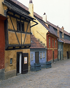 Old painted houses in Zlata Ulicka (Golden Lane), in Prague, Czech Republic, Europe