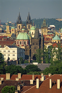Skyline of the Stare Mesto district including Tyn Church, Charles Bridge and Town Hall in the city of Prague, Czech Republic, Europe