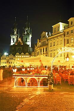 Stare Mesto Square, view towards Tyn Church, Prague, Czech Republic, Europe