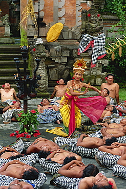 Princess Sita and performers of the Kecak Dance, Bali, Indonesia, Southeast Asia, Asia