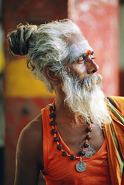 Portrait of a sadhu, a holy man, Jaipur, Rajasthan State, India