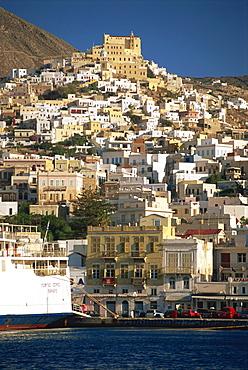 City skyline, Ermoupolis City, Syros, Cyclades, Greek Islands, Greece, Europe