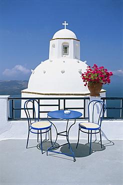 Greek Orthodox church in Fira, on Santorini, Cyclades, Greek Islands, Greece, Europe