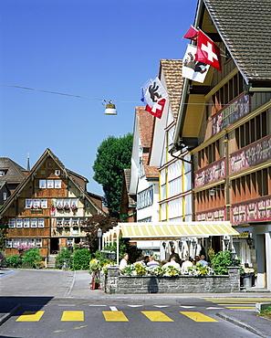 Painted facades on Hauptgasse, Appenzell, Appenzellerland, Switzerland, Europe