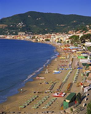 Beach and town, Alassio, Italian Riviera, Liguria, Italy, Europe