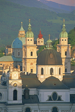 Elevated view of Kollegienkirche and cathedral domes, Salzburg, UNESCO World Heritage Site, Austria, Europe - 252-9702