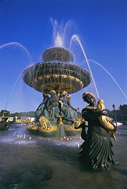 Fountain in Place de la Concorde, Paris, France, Europe