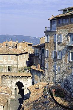 Mandorla Gate and buildings of the town, Perugia, Umbria, Italy, Europe