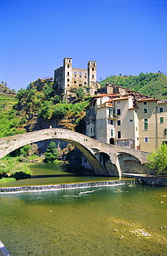 Doria's Castle and medieval bridge across River Nervia, Dolceacqua, Liguria, Italy, Europe