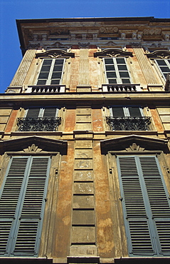 Building Exterior Showing Window Shutters, Genoa, Italy