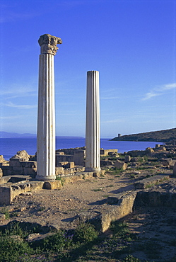 Punic/Roman ruins of city founded by Phoenicians in 730 BC, Tharros, Sardinia, Italy, Europe