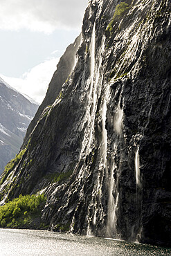 Part of the Seven Sisters waterfall, Geiranger Fjord, UNESCO World Heritage Site, More og Romsdal, Norway, Scandinavia, Europe