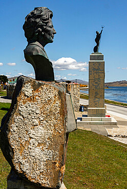 Bronze of Margaret Thatcher beside the 1982 Liberation Monument in Stanley, Falkland Islands, South America