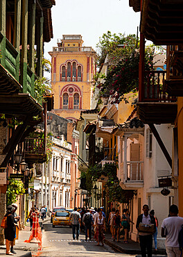 Tower of University in Cloisters of San Agustin, seen along Calle de Estrella, Cartagena, Colombia, South America