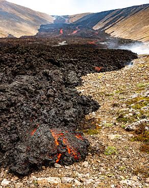 Fagradalsfjall volcano, Reykjanes Peninsula, Iceland, July 2021, typicall aa lava advancing along the Natthagi valley
