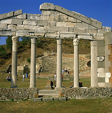 Tourists amid the ruins of the Roman city at Apollonia, Albania, Europe