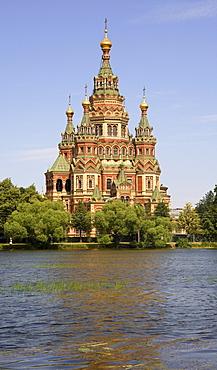 Peter and Paul church seen from Tsarina Pavilion, Peterhof, St. Petersburg, Russia, Europe