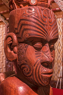 Carving in Maori Meeting House, Waitangi, Bay of Islands, North Island, New Zealand, Pacific