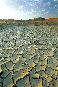 Sunbaked mud pan/cracked earth, near Sossusvlei, Namib Naukluft Park, Namibia, Africa