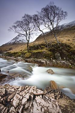 River Etive flowing through a narrow granite gorge, Glen Etive, Highland, Scotland, United Kingdom, Europe