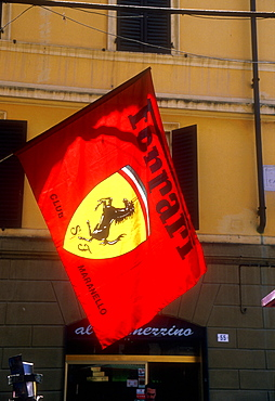 Ferrari banner, Maranello, Emilia-Romagna, Italy *** Local Caption ***