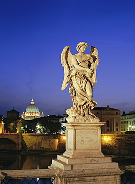 Angelic statue on Ponte Sant Angelo, St. Peter's, Vatican, Rome, Italy