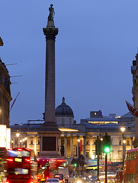 Nelson's Column and National Gallery at dusk, Trafalgar Square, London, England United Kingdom, Europe