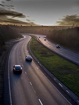 Motorway A31 daylight, Surrey, England, United Kingdom, Europe