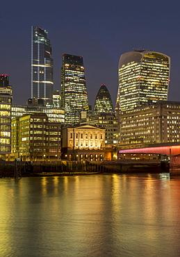 Cityscape with complete 22 Bishopsgate Tower and London Bridge dusk, London, England, United Kingdom, Europe