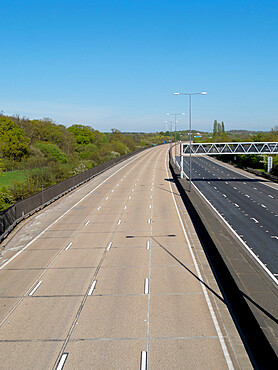 Empty A3 motorway in time of Covid lockdown