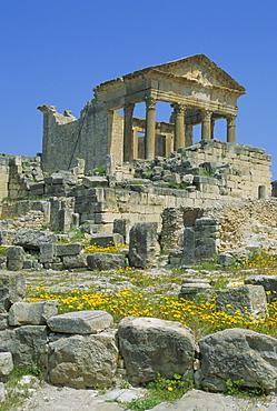 The Capitol and Roman ruins, Dougga, Tunisia, North Africa, Africa