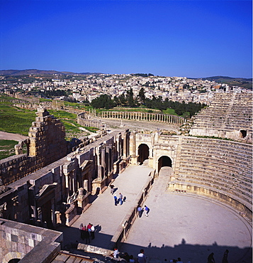 Ancient Roman Oval Forum, Jerash, Decapolis, Jordan