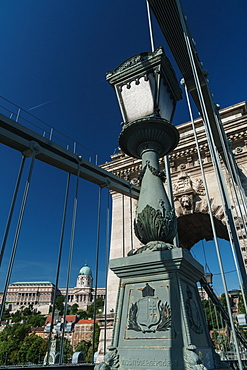 Royal Palace through the girders of the Chain Bridge, UNESCO World Heritage Site, Budapest, Hungary, Europe