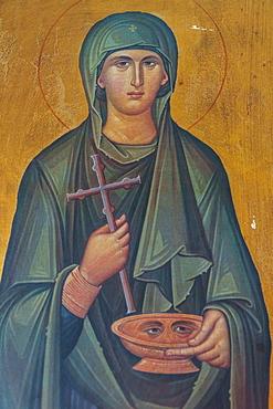 Portrait of St. Lucy, lived 283-304 AD, interior of Agios Georgios Church, Heronissos, Sifnos, Cyclades, Greek Islands, Greece, Europe