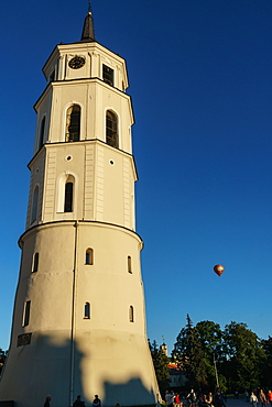 Cathedral Belfry with hot air balloon, Cathedral Square, Vilnius, Lithuania, Europe