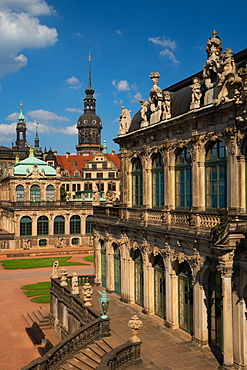 Internal courtyard of Zwinger Palace, completely rebuilt after World War 2 bombings, Dresden, Saxony, Germany, Europe