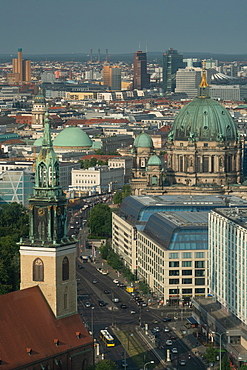 Aerial cityscape with Berliner Dom in centre seen from Alexanderplatz, in morning light, Berlin, Germany, Europe