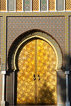 The imposing Moorish front gateway in the evening sun, of the Dar el-Makhzen (Royal Palace), New Fez, Morocco, North Africa, Africa