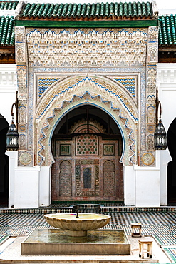 Monumental carved doorway and ablutions basin, Karaouiyine Mosque, Fez Medina, UNESCO World Heritage Site, Morocco, North Africa, Africa