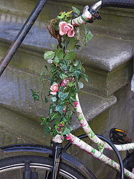 Old bicycle with flowers resting against stone steps, Amsterdam, Netherlands, Europe