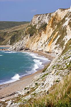 Steep cliffs and beach, St. Oswald's Bay, Dorset, England, United Kingdom, Europe
