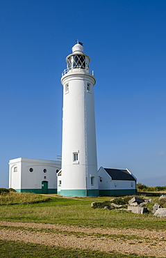 Hurst Point Lighthouse in the Solent, Hampshire, England, United Kingdom, Europe