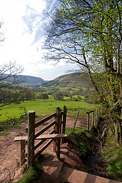 Footpath at Llanthony, Monmouthshire, Wales, United Kingdom, Europe