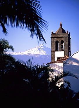 Church tower with Mount Teide behind, from Sauzal, Tenerife, Canary Islands, Spain, Atlantic, Europe