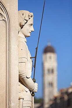 Close-up of statue on Placa, Dubrovnik, Croatia, Europe