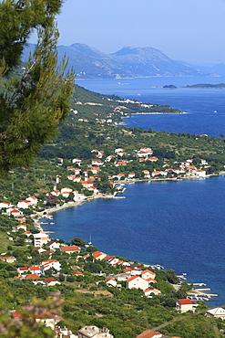 High view of coastline, Viganj, Peljesac Peninsula, Croatia, Europe