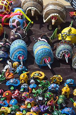 Colourful wooden animals for sale in Guanajuato, Guanajuato State, Mexico, North America