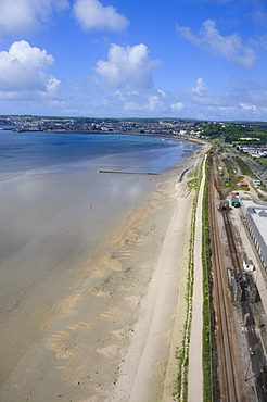 Aerial shot of railway line near Penzance, Cornwall, United Kingdom, Europe