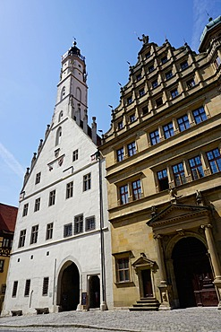 The double town hall in Rothenburg ob der Tauber, Romantic Road, Franconia, Bavaria, Germany, Europe